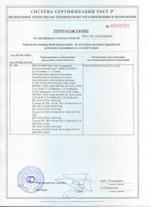 Сертификат соответствия и приложение к нему от 25.11.14 г 001
